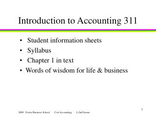 Introduction to Accounting 311