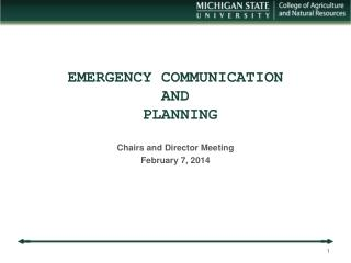 EMERGENCY COMMUNICATION  AND  PLANNING