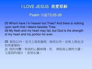I LOVE JESUS   我愛耶穌