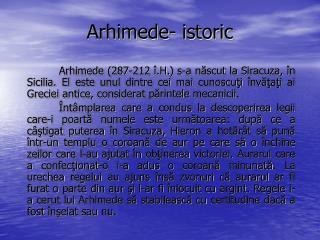 Arhimede- istoric