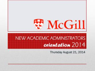 New Academic Administrators  orientation  2014