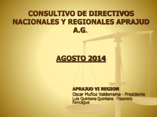 CONSULTIVO DE DIRECTIVOS NACIONALES Y REGIONALES APRAJUD  A.G . AGOSTO 2014 APRAJUD VI REGION