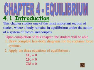 This chapter studies one of the most important section of statics, where a body remains in equilibrium under the action