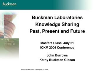 Buckman Laboratories Knowledge Sharing Past, Present and Future