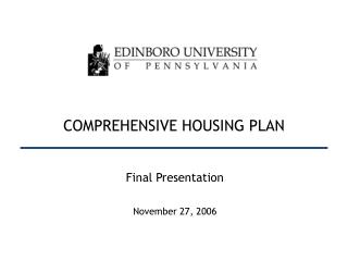 COMPREHENSIVE HOUSING PLAN