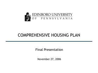 COMPREHENSIVE HOUSING PLAN