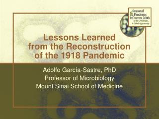 Lessons Learned from the Reconstruction of the 1918 Pandemic