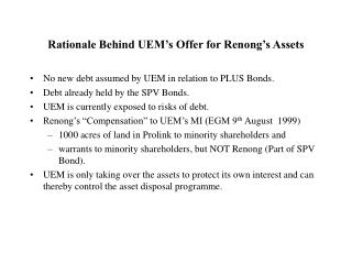 Rationale Behind UEM's Offer for Renong's Assets