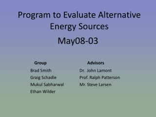 Program to Evaluate Alternative  Energy Sources