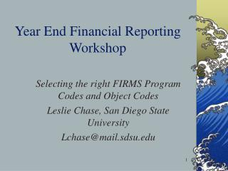 Year End Financial Reporting Workshop