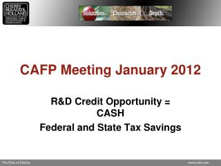 CAFP Meeting January 2012