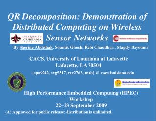 QR Decomposition: Demonstration of Distributed Computing on Wireless Sensor Networks
