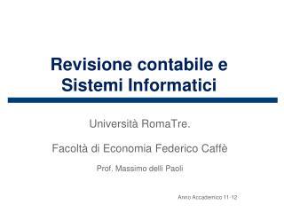 Revisione  contabile e Sistemi Informatici