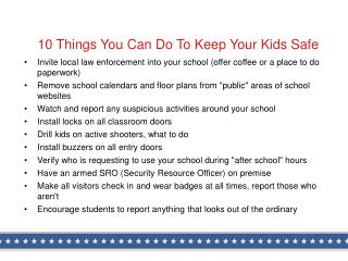 10 Things You Can Do To Keep Your Kids Safe