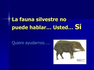 La fauna silvestre no puede hablar… Usted…  Si