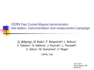 CERN Fast  Cycled Magnet  demonstrator: test  station, instrumentation and measurement campaign