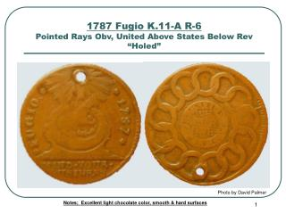1787 Fugio K.11-A R-6 Pointed Rays Obv, United Above States Below Rev  Holed
