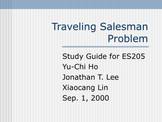 Ppt The Traveling Salesman Problem Powerpoint