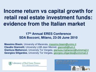 Income return  vs  capital growth for retail real estate investment funds: