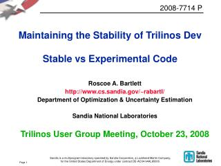 Maintaining the Stability of Trilinos Dev Stable vs Experimental Code