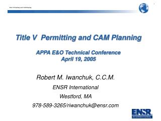 Title V  Permitting and CAM Planning APPA E&O Technical Conference April 19, 2005