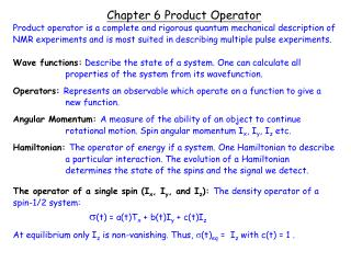 Chapter 6 Product Operator