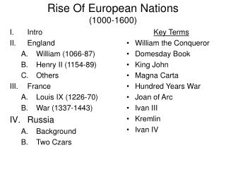 Rise Of European Nations (1000-1600)