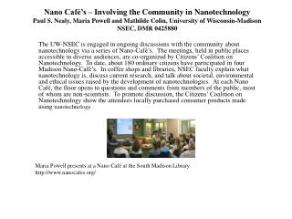 Maria Powell presents at a Nano Caf� at the South Madison Library.  nanocafes/