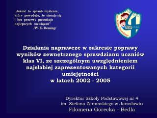 Dyrektor Szkoły Podstawowej nr 4  im. Stefana Żeromskiego w Jarosławiu  Filomena Górecka - Bedla