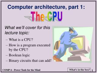 Computer architecture, part 1: