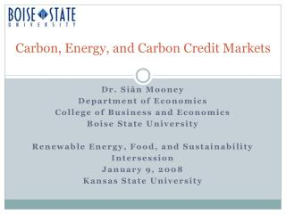 Carbon, Energy, and Carbon Credit Markets