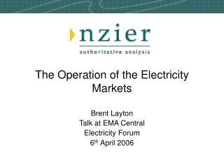 The Operation of the Electricity Markets
