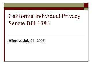 California Individual Privacy Senate Bill 1386