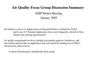 Air Quality Focus Group Discussion Summary