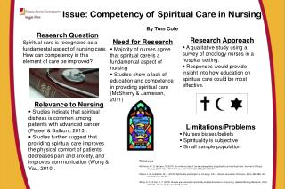 Issue: Competency of Spiritual Care in Nursing By Tom Cole