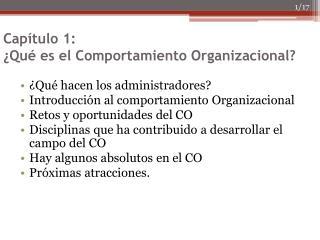 Capítulo 1: ¿Qué es el Comportamiento Organizacional?