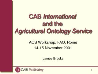 CAB  International and the Agricultural Ontology Service