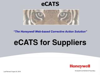 "eCATS ""The Honeywell Web-based Corrective Action Solution"" eCATS for Suppliers"
