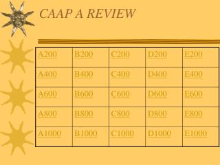 CAAP A REVIEW