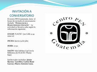 INVITACIÓN A CONVERSATORIO