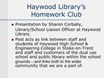 Haywood Library s Homework Club