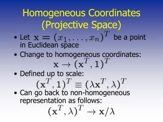 Homogeneous Coordinates Projective Space
