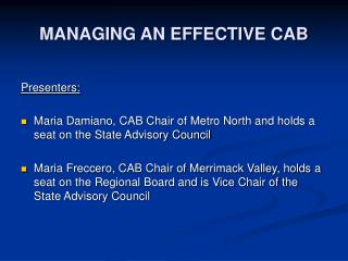 MANAGING AN EFFECTIVE CAB