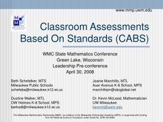 Classroom Assessments Based On Standards (CABS)