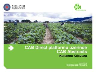CAB Direct  platformu üzerinde  CAB Abstracts