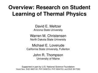Overview: Research on Student Learning of Thermal Physics