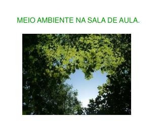 MEIO AMBIENTE NA SALA DE AULA.
