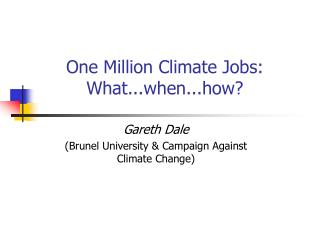 One Million Climate Jobs: What...when...how?
