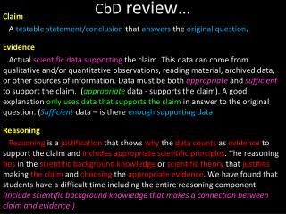 CbD  review…