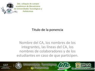Titulo de la ponencia